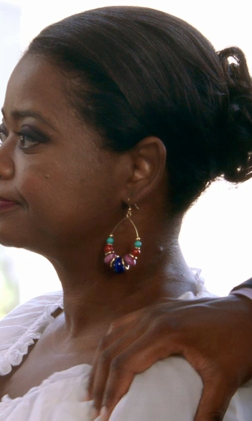 Octavia Spencer with Yochi Crystal Beaded Hoop Earrings in Black or White