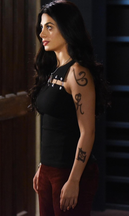 Emeraude Toubia with Vince Stretch-Suede Cropped Pants in Shadowhunters