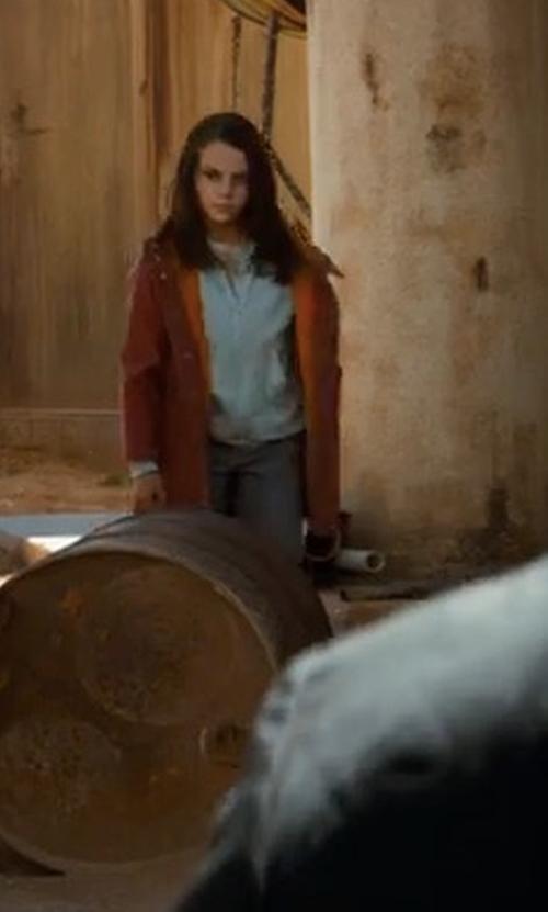 Dafne Keen with Burberry Brogan Hooded Duffle Coat in Logan