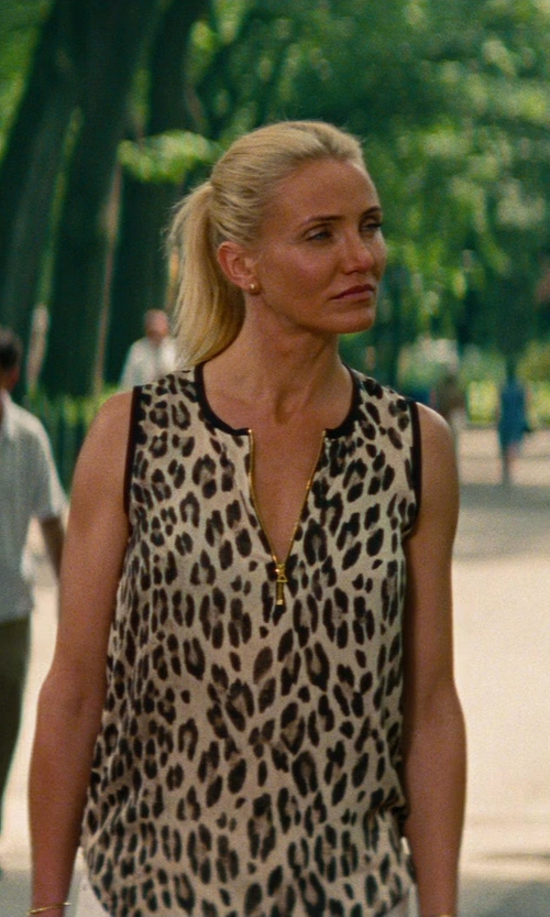 Cameron Diaz with L'Agence Animal Sleeveless Leopard Print Blouse in The Other Woman