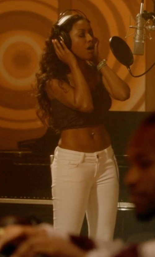 Gabrielle Dennis with JEN7 High-Rise Slim Straight Jeans in Rosewood