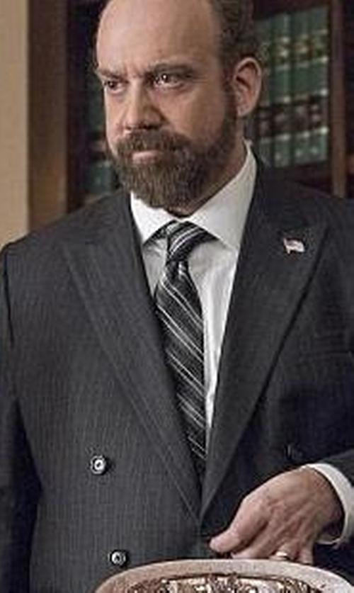 Paul Giamatti with Armani Collezioni Pique and Twill Diagonal Stripe Tie in Billions