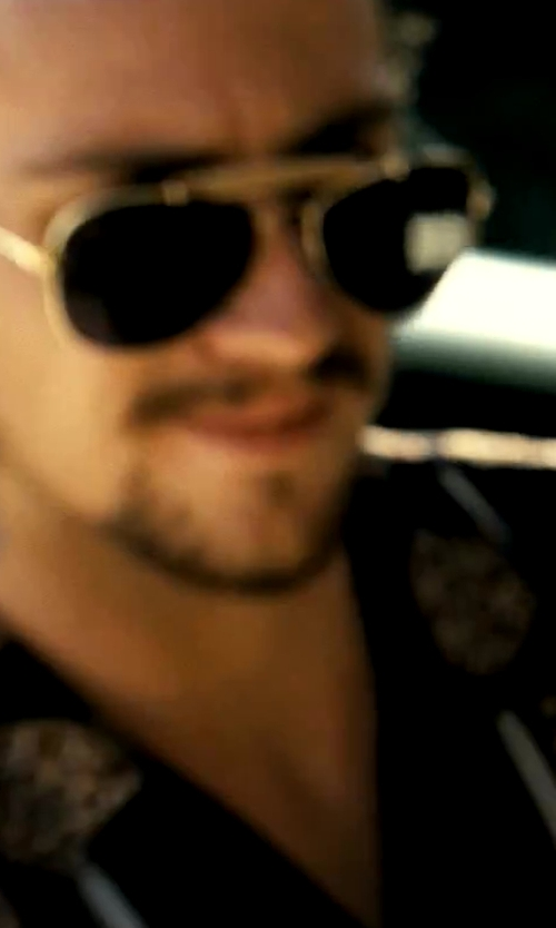 Aaron Taylor-Johnson with Ray-Ban Outdoorsman 3030 Aviator Sunglasses in Savages