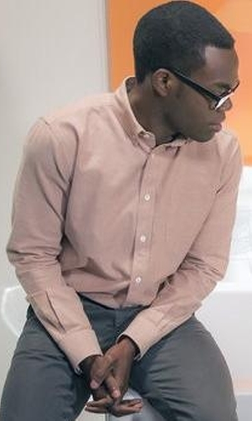 William Jackson Harper with Polo Ralph Lauren Slim-Fit Stretch Oxford Sportshirt in The Good Place