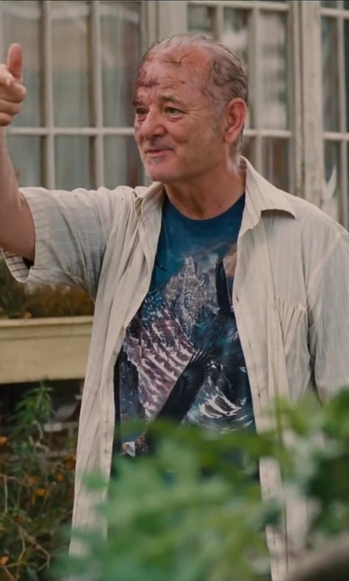Bill Murray with Van Heusen Men's Short Sleeve Stripe Pucker Button Down Shirt in St. Vincent