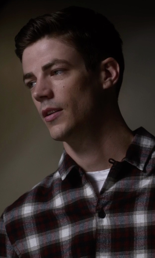 Grant Gustin with Obey Dobbs Button Down Shirt in The Flash