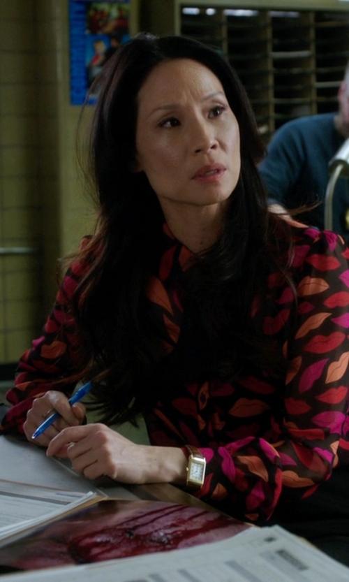 Lucy Liu with Diane Von Furstenberg Lips Printed Shirt in Elementary