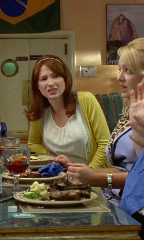 Ellie Kemper with St. John Silk Georgette Top in Bridesmaids