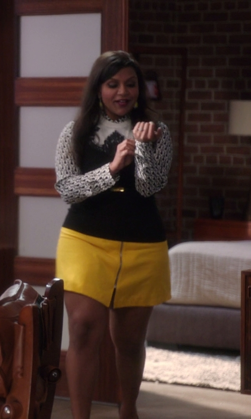 Mindy Kaling with Dolce & Gabbana Striped Tank Top in The Mindy Project