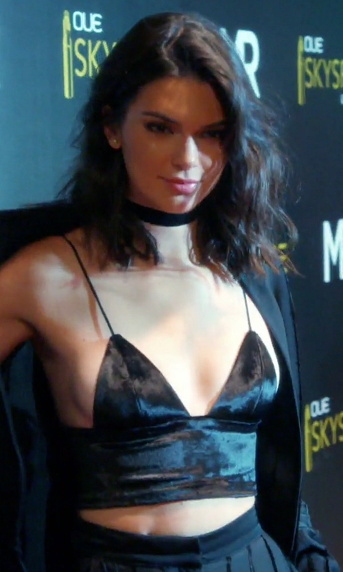 Kendall Jenner with Are You Am I Elodie Velvet Bra Top in Keeping Up With The Kardashians
