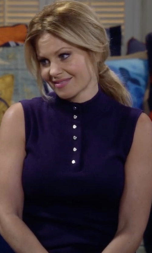 Candace Cameron Bure with Frame Sleeveless Rib Mock-Neck Sweater in Fuller House