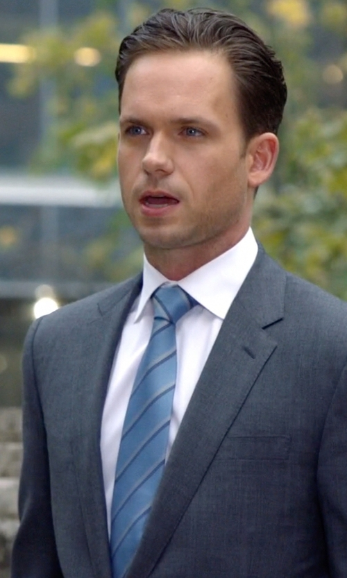 Patrick J. Adams with Gucci Striped Woven Silk Tie in Suits