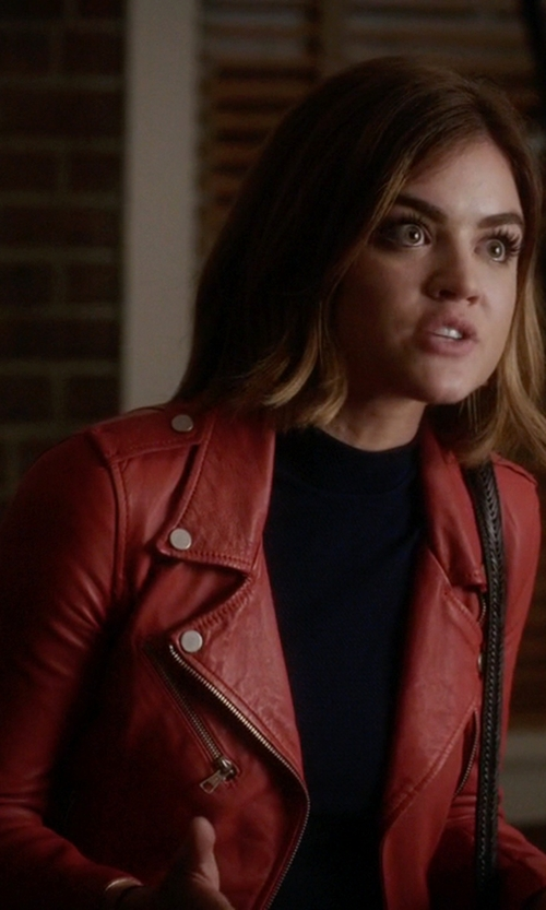 Lucy Hale with Zara Side Gathered Leather Jacket in Pretty Little Liars
