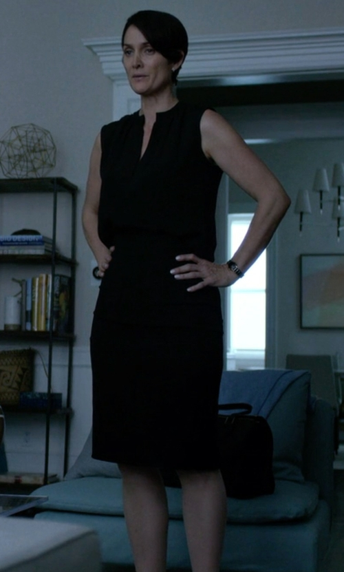Carrie-Anne Moss with Theory	 Miyani Split-Neck Suit Dress in Jessica Jones