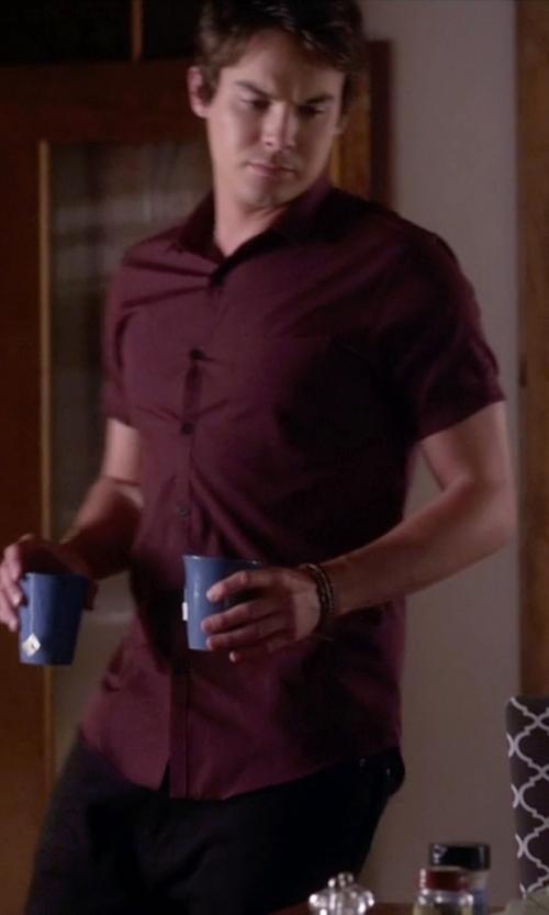 Tyler Blackburn with Topman Burgundy Pocket Short Sleeve Smart Shirt in Pretty Little Liars