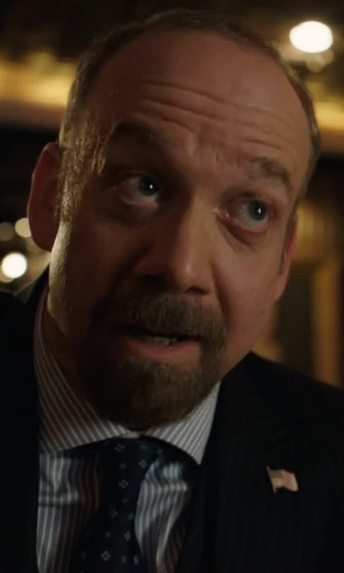 Paul Giamatti with Stefano Ricci Neat Square Printed Silk Tie in Billions