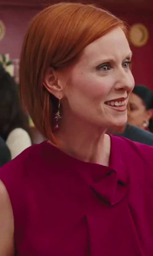 Cynthia Nixon with Elle Jewelry Garnet Cubic Zirconia Earrings in Sex and the City 2