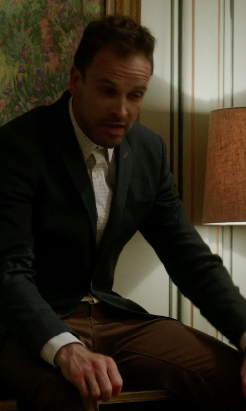 Jonny Lee Miller with Cego Custom Made Contrast Windowpane Button Shirt in Elementary