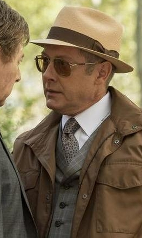 James Spader with John Varvatos Plaid Peaked Lapel Vest in The Blacklist