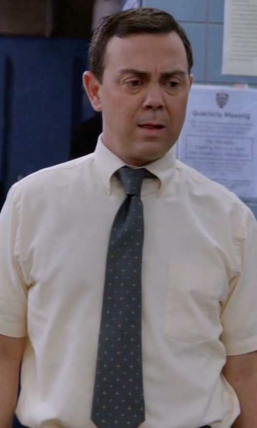 Joe Lo Truglio with Boss Square Dot Silk Tie in Brooklyn Nine-Nine
