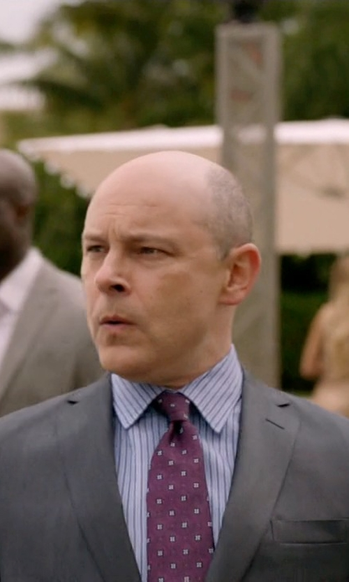 Rob Corddry with Ike Behar 'Twill Ground Neat' Medallion Silk Tie in Ballers