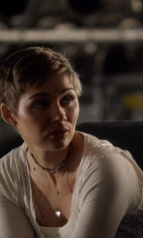 Clare Bowen with French Connection Candy Waffle Knit Sweater in Nashville