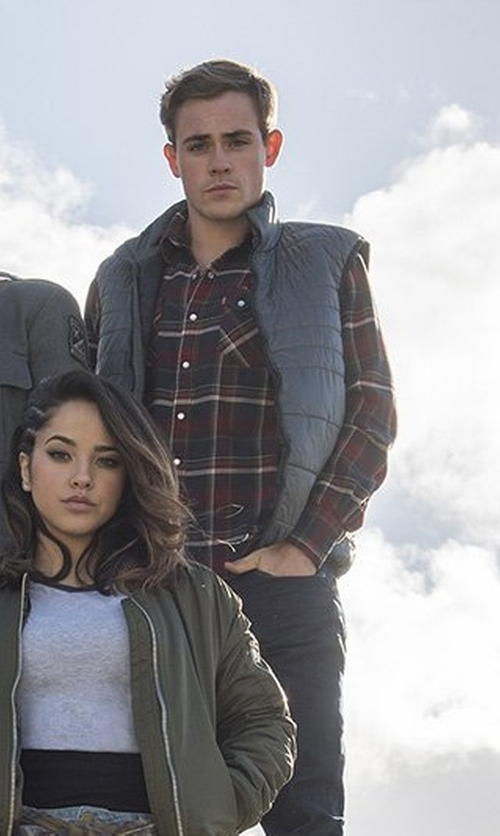 Dacre Montgomery with Surfside Supply Co. Flannel Plaid Shirt in Power Rangers