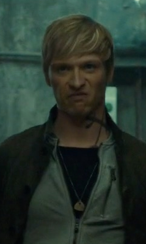 Will Tudor with John Varvatos Brass Guitar Necklace in Shadowhunters