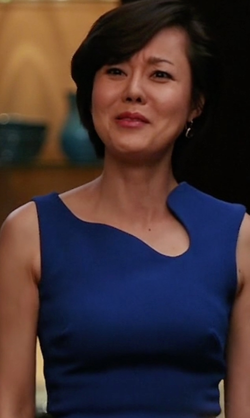 Yunjin Kim with Victoria Beckham Matte Crepe Curve Neck Fitted Dress in Mistresses