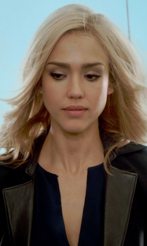 Jessica Alba with Helmut Lang Leather Paneled-Stretch Wool Blazer in Barely Lethal