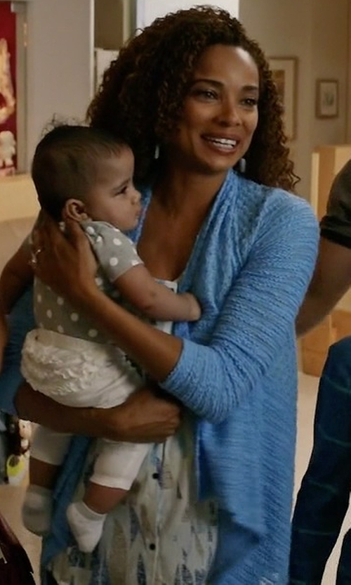 Rochelle Aytes with Caroline Rose Gauze Knit Draped Jacket in Mistresses