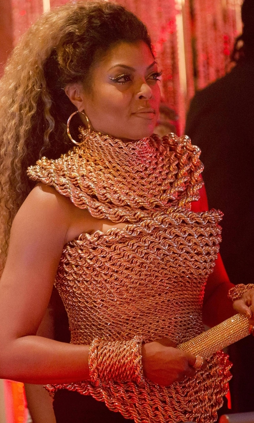 Taraji P. Henson with The Blonds Gold Braided Top in Empire