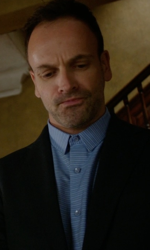 Jonny Lee Miller with Cego Custom Made Stripe Button Shirt in Elementary