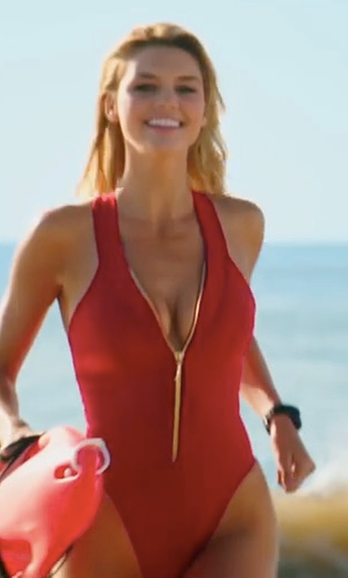 Kelly Rohrbach with Dayna Pink (Costume Designer) Custom Made Lifeguard One Piece Swimsuit in Baywatch