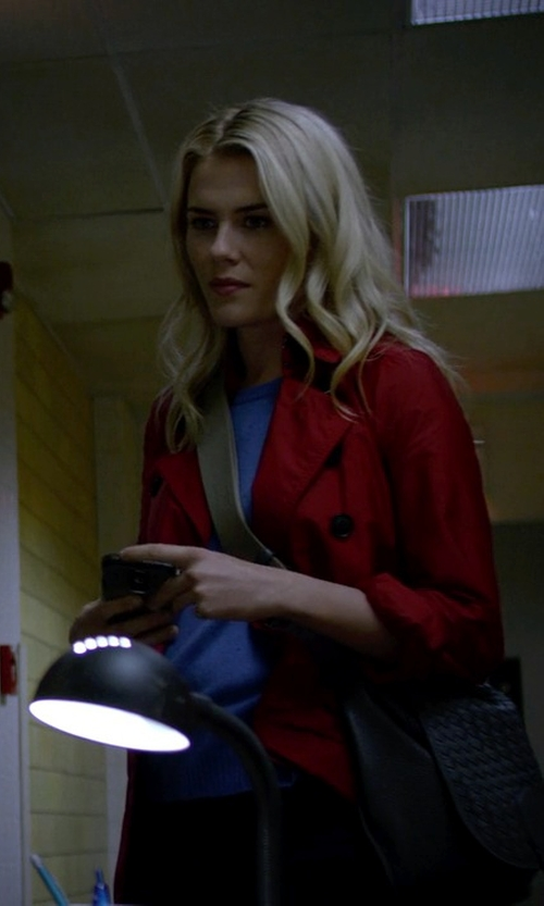 Rachael Taylor with Burberry Check Detail Showerproof Trench Coat in Jessica Jones