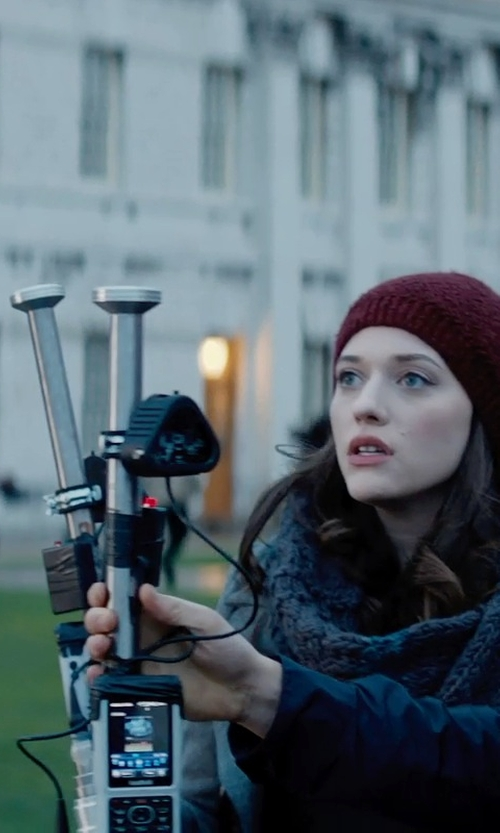 Kat Dennings with Pendleton Double-Breasted Coat in Thor: The Dark World