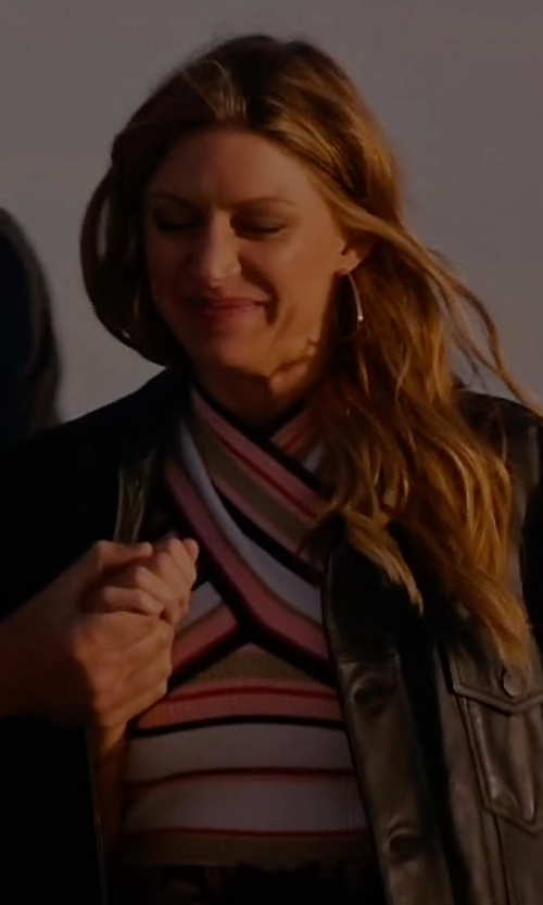 Jes Macallan with MSGM Striped Ribbed Cross-Front Top in Mistresses