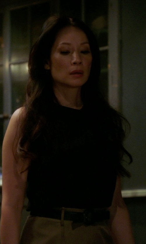 Lucy Liu with Victoria Victoria Beckham Two Tone Shirtdress in Elementary