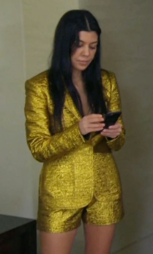 Kourtney Kardashian with Lanvin Metallic Shorts in Keeping Up With The Kardashians