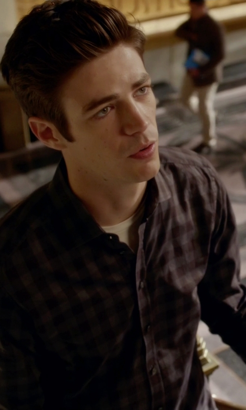 Grant Gustin with Polo Ralph Lauren Slim-Fit Checked Estate Shirt in The Flash