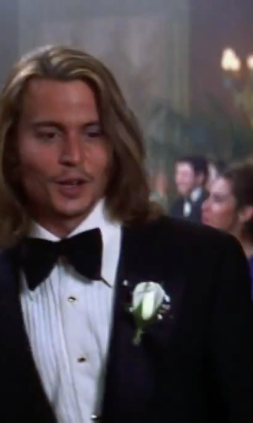 Johnny Depp with Hart Schaffner Marx New York Classic Fit Black Wool Tuxedo Suit in Blow