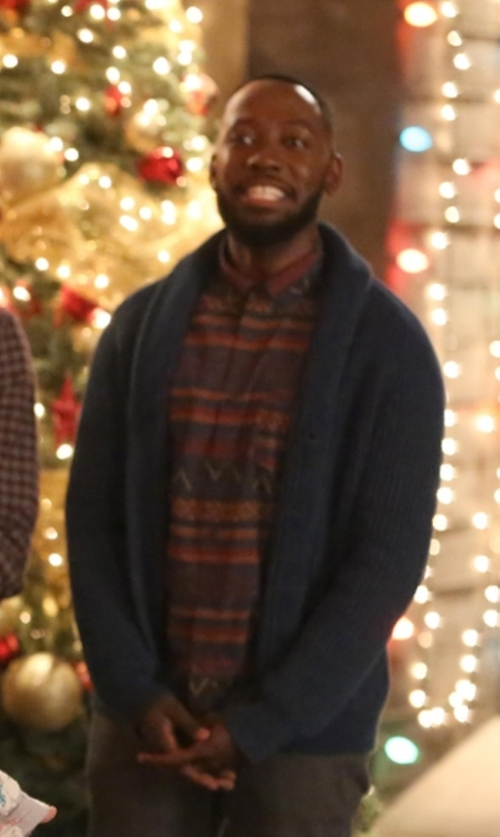 Lamorne Morris with Rag & Bone Avery Shawl-Collar Textured Cardigan in New Girl