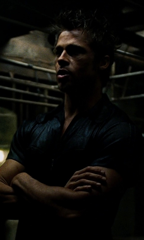 Brad Pitt with James Perse Linen Short-Sleeve Oxford Shirt in Fight Club