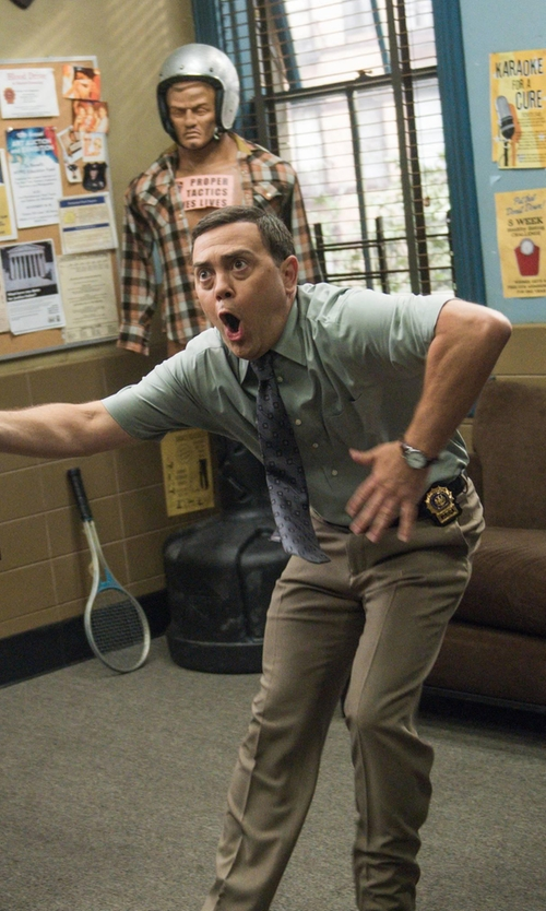Joe Lo Truglio with Lanvin Patterned Tie in Brooklyn Nine-Nine