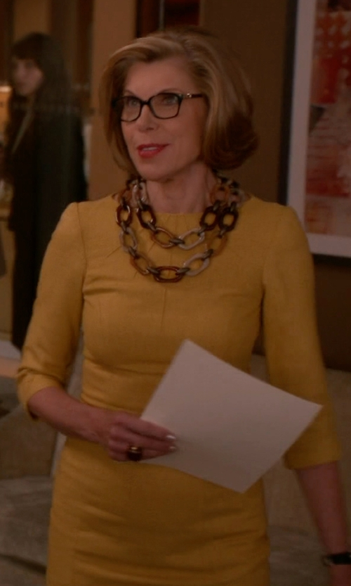 Christine Baranski with Tahari Arthur S. Levine Tiered Sheath Dress in The Good Wife