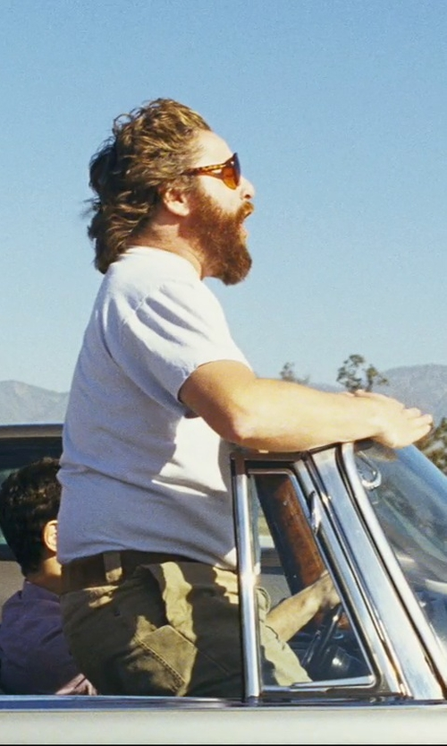Zach Galifianakis with Armani Jeans Perforated Leather Belt in The Hangover