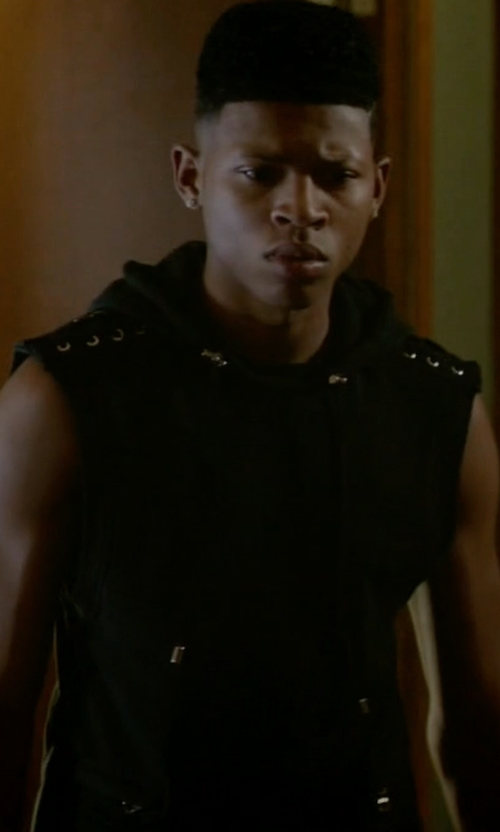 Bryshere Y. Gray with Balmain Sleeveless Lacing Hoodie in Empire