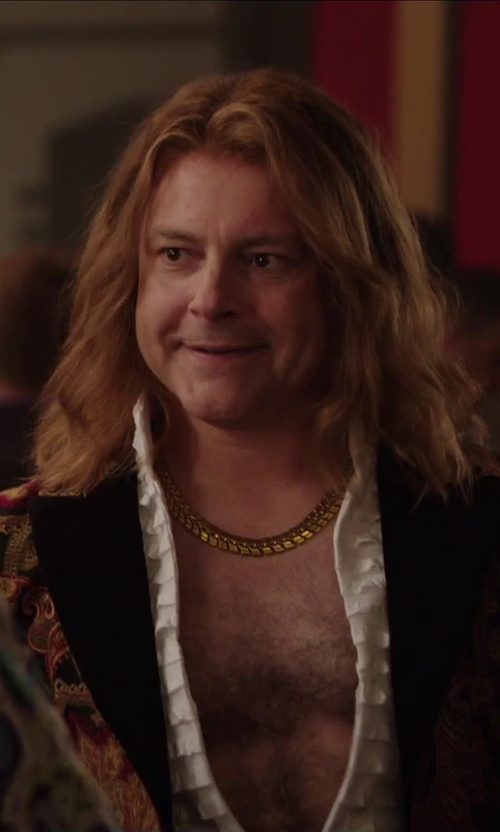 Rob Corddry with Dance America Mandarin Collar Tuxedo Ruffled Shirt in Hot Tub Time Machine 2