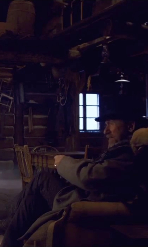 Tim Roth with Tasso Elba Windowpane Three Piece Wool Suit in The Hateful Eight