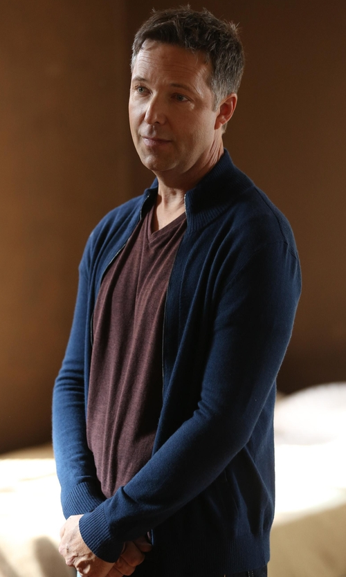 George Newbern with Brunello Cucinelli Zip Cardigan in Scandal